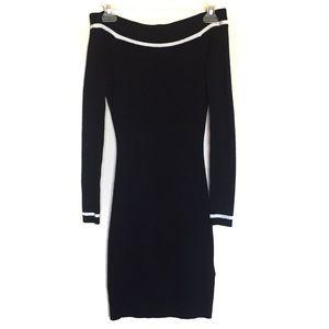 GUESS Off Shoulder Dress Black White Stripes